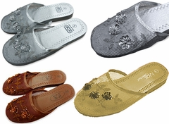 Wholesale Chinese Mesh Woman's Slippers - Metallic Colors Only (Case of 48)