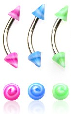 Eyebrow Body Jewelry - Wild U.V. Spike Swirl Curved Barbell