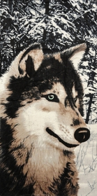 "Wolf In The Wild Beach and Bath Towel (30"" x 60"")"