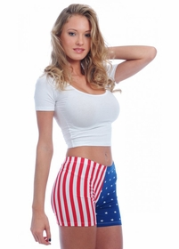 Womens Fitted American Flag Shorts