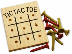 Wooden Tic Tac Toe Peg Game (One Dozen)