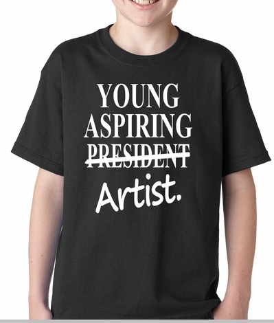 Young Aspiring Artist (President Crossed Out) Kids T-shirt<!-- Click to Enlarge-->