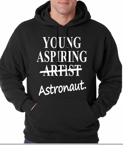 Young Aspiring Astronaut (Artist Crossed Out) Adult Hoodie<!-- Click to Enlarge-->