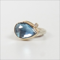 Faceted Pear London Blue Topaz with Diamond