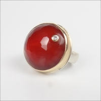 Large Round Faceted Carnelian with Diamond