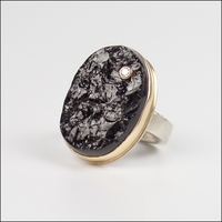 Oval Surface Cut Black Tourmaline with Diamond