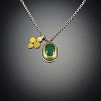 Rose Cut Emerald Necklace with Gold Disk Charm