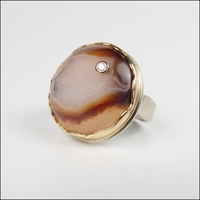 Round Autumn Drusy with Diamond