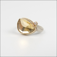 Small Faceted Asymmetrical Citrine with Satellite Diamond