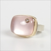 Smooth Rectangular Rose Quartz with Diamond
