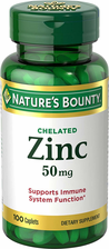 Nature's Bounty Chelated Zinc 50 mg Gluconate, 100 Caplets