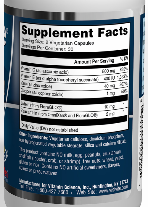 VisiVite® AREDS 2 Select Gentle Zinc Formula Veg Caps with Natural Lutein  and Zeaxanthin - one month supply. ""