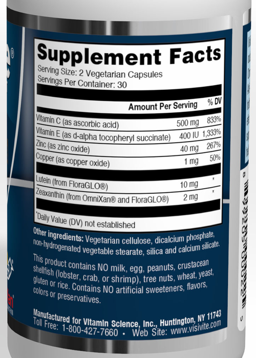 VisiVite AREDS2 Red Formula Supplement Facts: 10 mg lutein, 2 mg zeaxanthin, 500 mg ascorbic acid, 400 IU vitamin E, 80 mg zinc oxide, 2 mg cupric oxide
