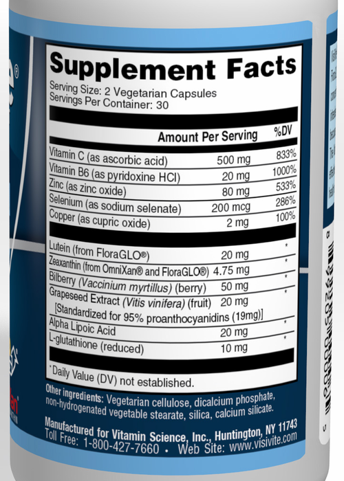VisiVite AREDS2 E-Free Blue Formula Supplement Facts: 20 mg FloraGLO lutein, 4.75 mg OmniXan zeaxanthin, 500 mg ascorbic acid, 40 mg zinc oxide, 1 mg cupric oxide, vitamin B6 20 mg, Bilberry 50 mg, Alpha Lipoic Acid 20 mg, Grape Seed Extract 20 mg, L-glutathione 10 mg, Selenium 200 mcg