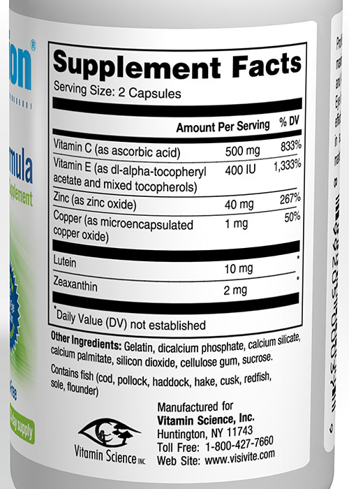 VisiVite ProVision Supplement Facts: Lutein 10 mg, Zeaxanthin 2 mg, Vitamin  C 500