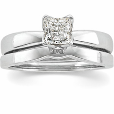 1/2 Carat Princess Cut Diamond Platinum Engagement Ring, Tulipset