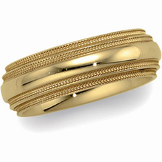 14k 6 mm Comfort-Fit Double Milgrain Band