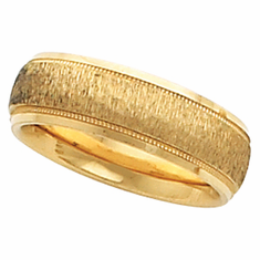 14k 6 mm Comfort-Fit Milgrain Band w/Florentine Finish