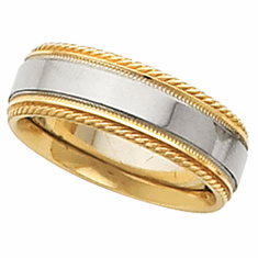 14k 6 mm Comfort-Fit  Wedding Band w/ Milgrain & Rope Edge