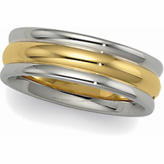 14k 6 mm Two-Tone Comfort-Fit Wedding Band w/  White Gold Edge