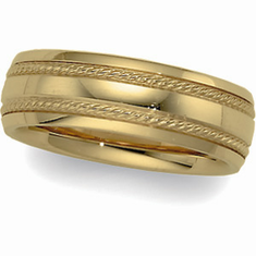 14k  6mm Comfort Fit Wedding Band with Rope Trim