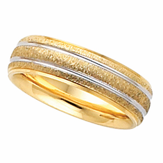 14k and Rhodium Plated 6mm Comfort Fit Wedding Band