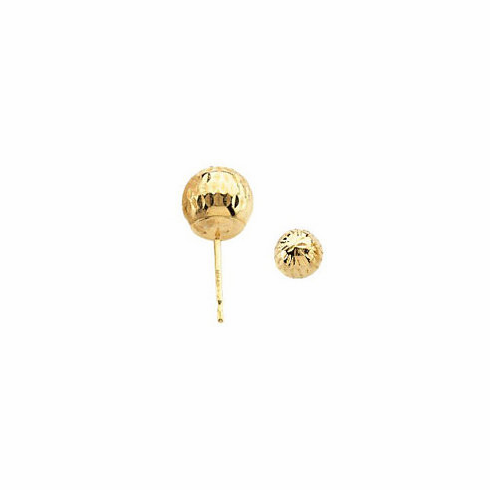 14k Diamond-Cut Ball Earring