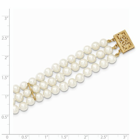 14K Freshwater 5-5.5mm Triple Strand Cultured Pearls