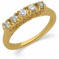 14k Gold 1/2CT Five Stone Diamond Anniversary Band
