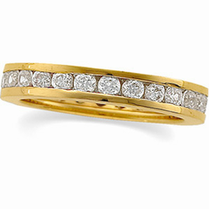 14k Gold 1ct. Diamond Channel Set Eternity Anniversary Band