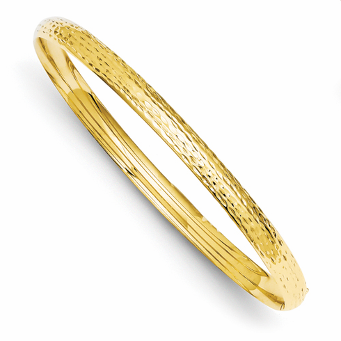14k Gold 4.75.mmWide Diamond Cut Hammered Bangle