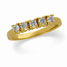 14k Gold 5-Stone 1/2ct Diamond Anniversary Band