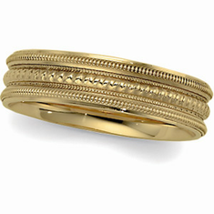 14k Gold 6mm Comfort Fit Wedding Band with Design