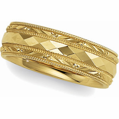 14k Gold 6mm Comfort Fit Wedding Band with Faceted Design