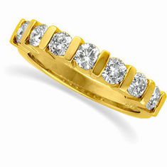 14K Gold Accented 1 CT Diamond Anniversary Band
