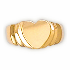 14k Gold Child's Heart Shaped Signet Ring