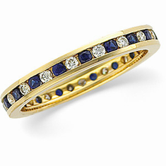 14K Gold Diamond & Sapphire Eternity Anniversary Band