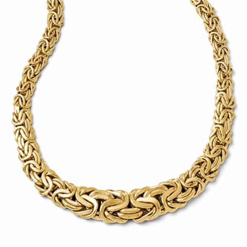 14k Gold Graduated Byzantine Necklace, Made in Italy.