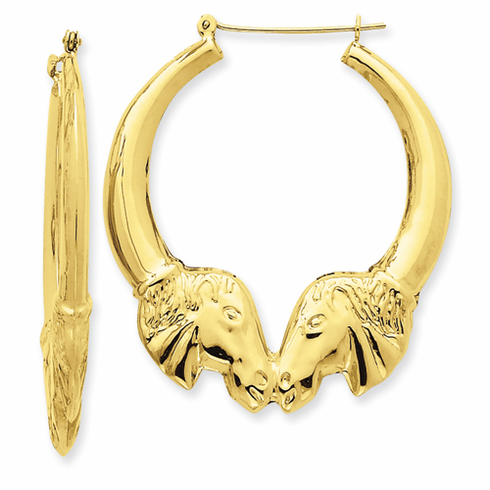 14k Gold Polished Kissing Horse Head Hoop Earrings