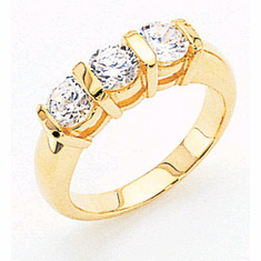 14k Gold Three Stone Anniversary Ring, 1.50tcw.