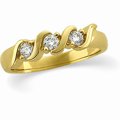 14k Gold Three-Stone S-Design 1/3 ct.  Diamond Anniversary Ring