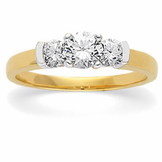 14k Gold Three Stone Semi-Set Diamond Anniversary Band