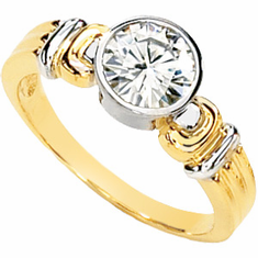 14k Gold Two Tone Created Moissanite Wedding Ring