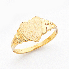 14K HEART SIGNET RING