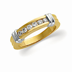 14K Ladies Two Tone Diamond Anniversary  1/4 CT Band