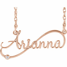 14K Rose Gold .015 CTW Diamond Infinity-Inspired Script Nameplate Necklace