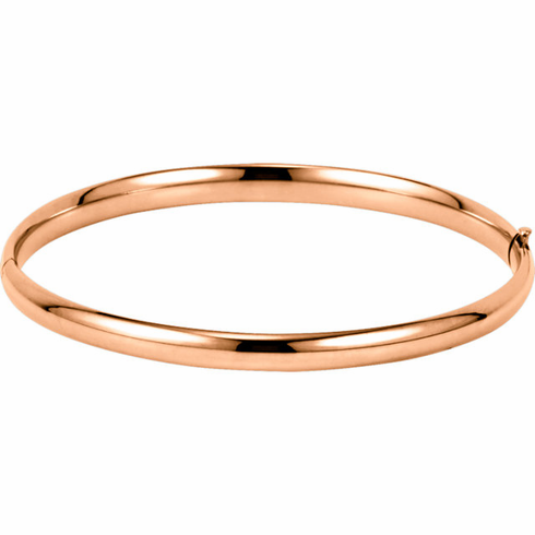14k  Rose Gold Polished Bangle Bracelet