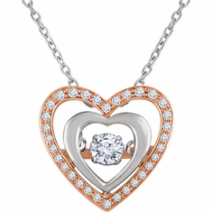 "14K Rose & White 1/4 CTW Diamond Heart 18"" Mystara® Necklace"