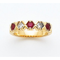 14k Ruby & Diamond Anniversary Ring
