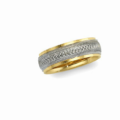 14k Two Tone 6mm Circle Pattern Comfort-Fit Band